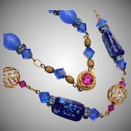 Art Glass, Rhinestone and Crystal Necklace