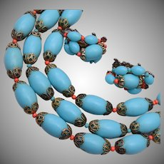 3 Strand Turquoise and Coral Necklace