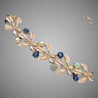 Coro Blue Rhinestone Leaf Necklace
