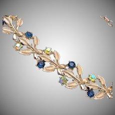 Coro Blue Rhinestone Leaf Necklace
