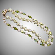 Green and White Glass and Crystal 2 Strand Necklace
