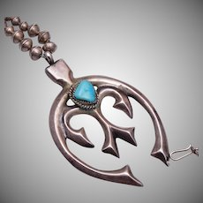 Traditional Navajo Sterling and Turquoise Beaded Necklace