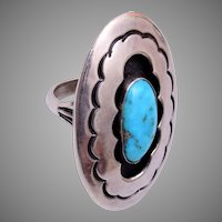 Signed Navajo Shadow Box Sterling and Turquoise Ring Size 7-1/4