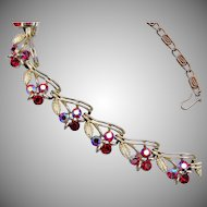 Lisner Red Rhinestone Necklace