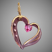 "Glass Heart Pendant on 18"" Chain"