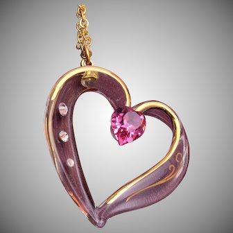 "Glass Heart Pendant on 18"" Chain"