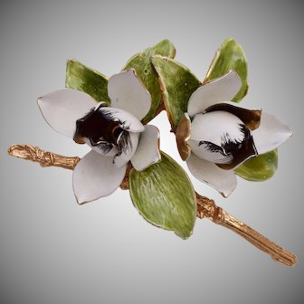Enameled Lotus Flower Brooch