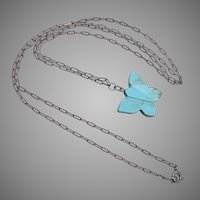 Turquoise Butterfly and Sterling Silver Chain