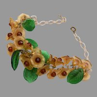 Glass and Celluloid Flower Necklace