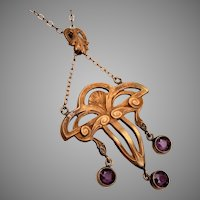 Art Nouveau Necklace with 3 Amethyst Drops