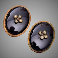 2 Black Glass and Seed Pearl Dress Clips