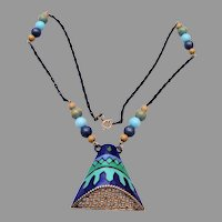 Eisenberg Blue and Green Enameled Necklace