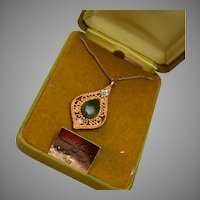 Genuine Diamond, Jade and Cultured Pearl Necklace