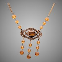 Topaz Crystal Drops and Brass and Glass Pendant