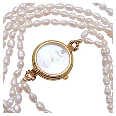 Watch and 2 Strand Fresh Water Pearl Necklace