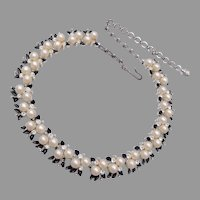 Faux Pearl, Enamel and Rhinestone Necklace