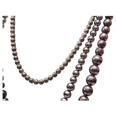 3 Metal Beaded Necklaces Strung on Chain