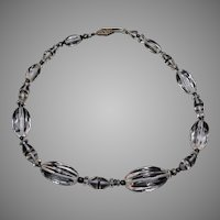 Beautiful Carved Crystal Necklace with Black Glass Spacers