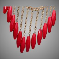 Red Glass Bib Necklace with Embossed Chain