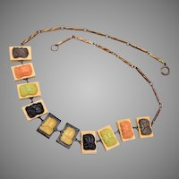 10 Celluloid Cameo Panels Necklace