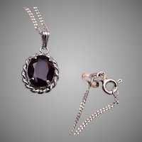 Sterling and Red Stone Garnet Necklace