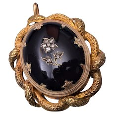 Rose Cut Diamond and Onyx in 14kt gold Mourning Pendant