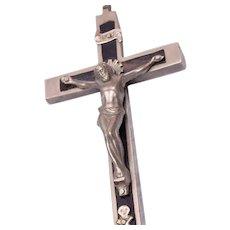 Ebony and Silvertone Metal Crucifix