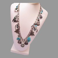 Southwestern Style Sterling and Turquoise Charm Necklace