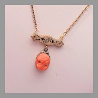 Coral Cameo Locket and Victorian Pin Necklace