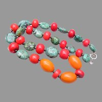 Turquoise, Bakelite and Glass Necklace