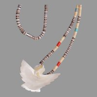 Heishi With Coral and Turquoise and Bird Necklace