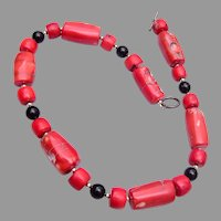 Coral, Black Onyx and Sterling Necklace