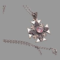 Jerusalem Cross 900 Silver Pendant Necklace