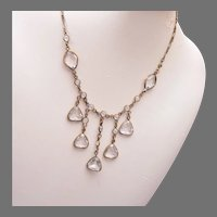 Art Deco Bezel Set Crystal Necklace with Paper Clip Chain
