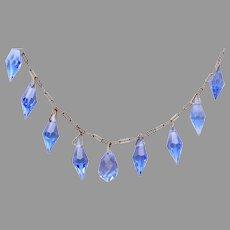Art Deco Blue Briolette Crystals on Paper Clip Chain