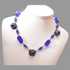 Blue Glass and Flower Necklace