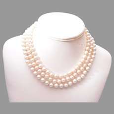 Marvella 3 Strand Glass Pearl Necklace with Rhinestone Clasp