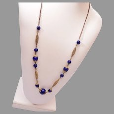 Brass and Blue Glass Necklace