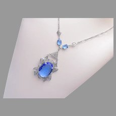 Filigree and Blue Faceted Stone Art Deco Necklace