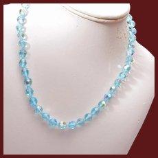Aqua Crystal Necklace with Rhinestone Clasp