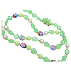 West Germany Green and Rainbow Art Glass Necklace