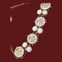 White Milk Glass With Gold Flowers and Inset Rhinestone Necklace