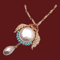 Pearl Belly Bug or Bird Brooch or Pendant