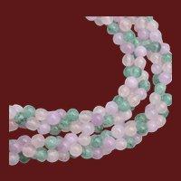 Peking Glass and Rose Quartz 3 Strand Necklace