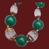 Beautiful Green Necklace with Molded Art Glass Crystals