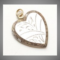 Gold Washed Sterling Heart Shaped Locket Etched Design