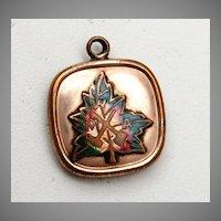 Enameled Maple Leaf Gold Filled Fob