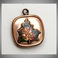 Enameled Maple Leaf Gold Filled Fob