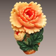 Japan Marked Celluloid Molded and Dyed Flower Dress Clip
