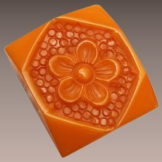 Carved Butterscotch Bakelite Dress Clip